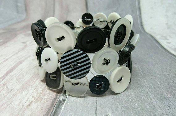 Black and white wraparound button bracelet by FolbarJewellery