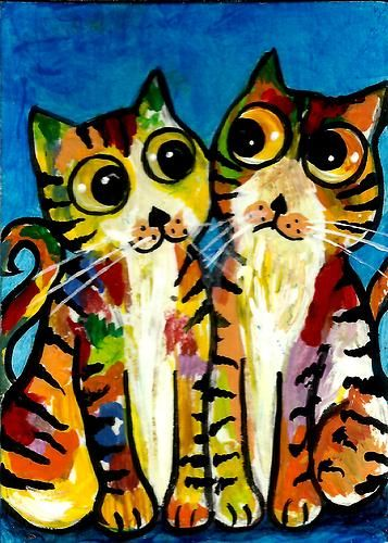 """2013 ORIGINAL ACEO PAINTING """"ABSTRACT KITTENS' """" BY AniTa"""