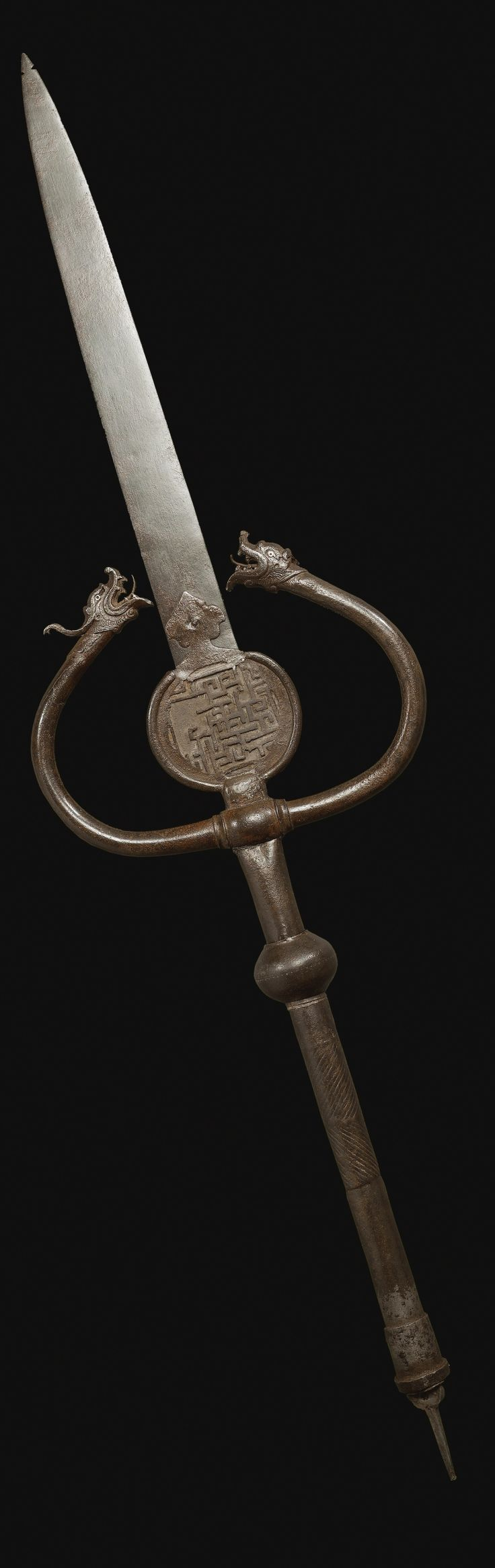 A CAST BRASS DRAGON-HEADED FINIAL ('ALAM), PERSIA, TIMURID, 15TH CENTURY