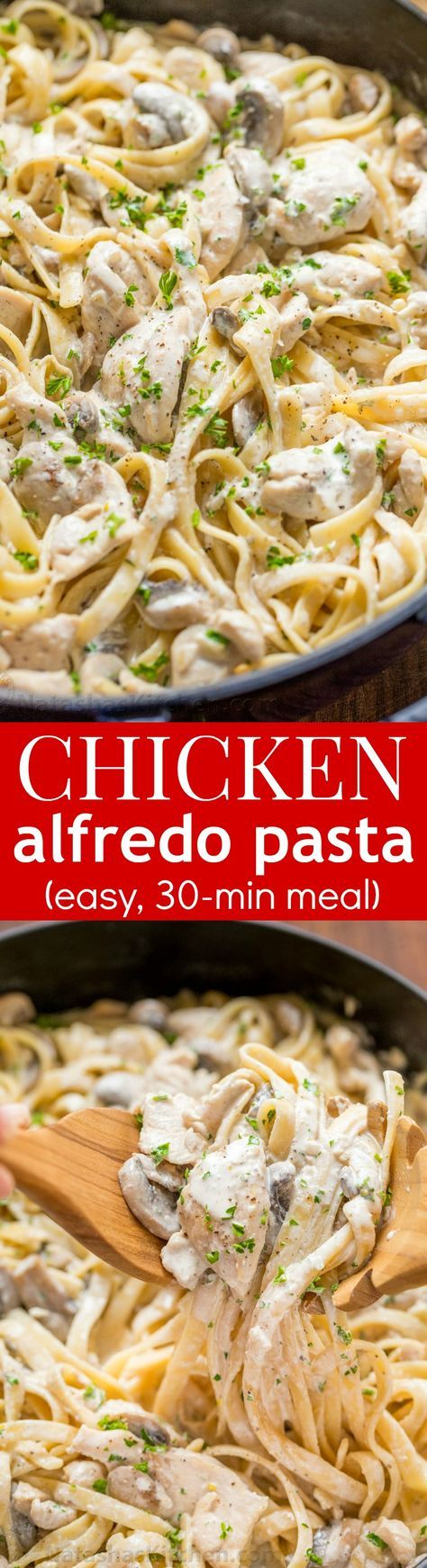 Mom's creamy Chicken Fettuccine Alfredo has been a family favorite for years! Classic Chicken Alfredo is a feel good comfort food - so creamy but light!   natashaskitchen.com
