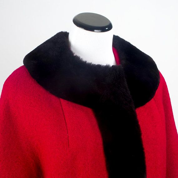 Shaved beaver trimmed suit red by LakeCountyVintage on Etsy
