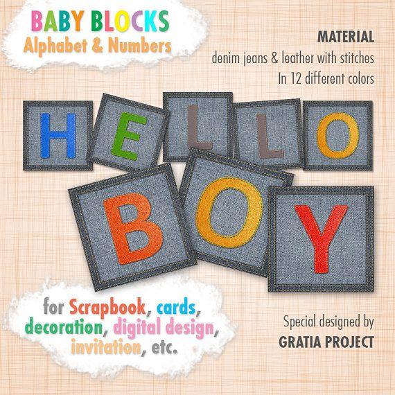 Baby ABC Blocks  Denim Bluejeans Fabric Digital Clipart for