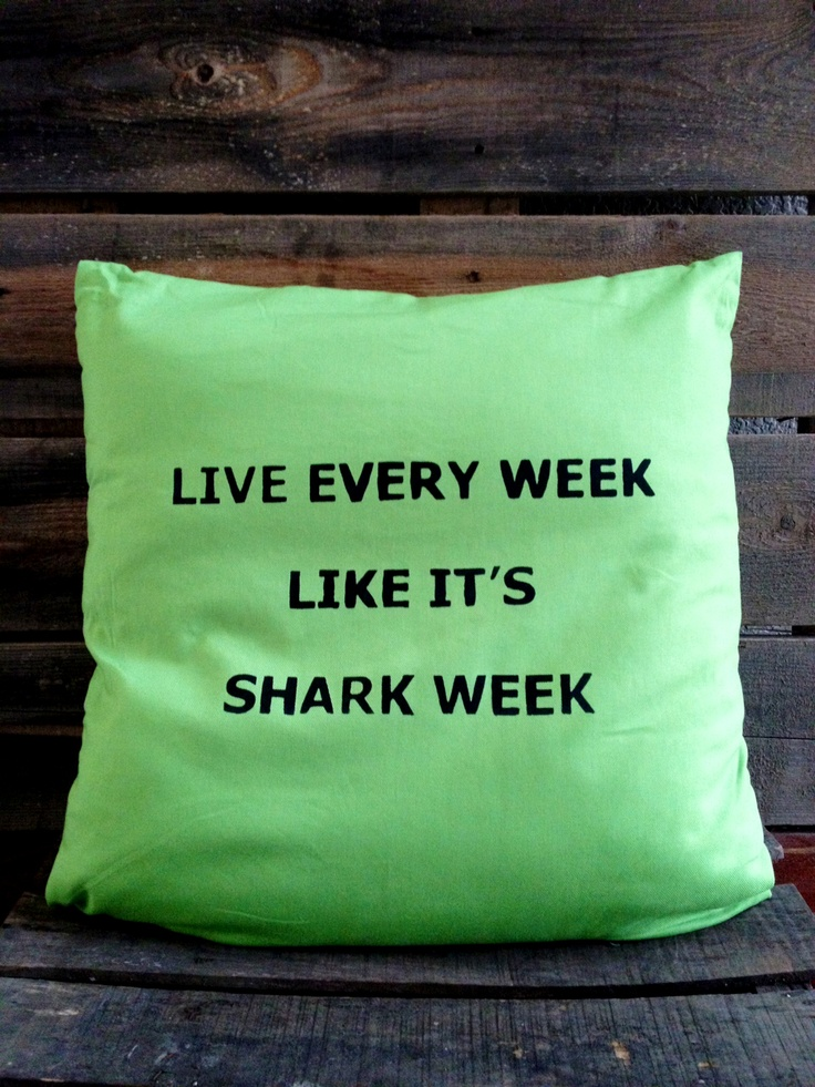 Shark Week Pillow now in green!! I'm in love with this bright pillow! https://www.etsy.com/listing/93521991/shark-week-throw-pillow