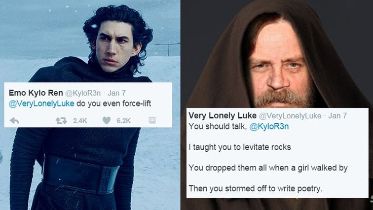 Haven't seen sick burns like this since Anakin Skywalker. Emo Kylo Ren and Very Lonely Luke Twitter battle.