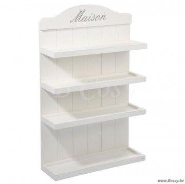 """J-Line Wit houten rek met 4 schappen Ma Maison in wit 75 <span style=""""font-size: 0.01pt;"""">Jline-by-Jolipa-33464-legplank-plank-planche-planches-planken-legplanken-planches-shelves-planken-brett</span>"""