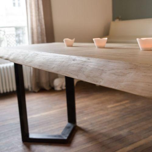 Les 25 meilleures id es de la cat gorie pied de table metal sur pinterest p - Table chene pied metal ...