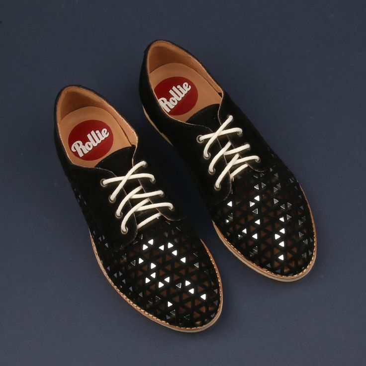 Delight in the details of the Rollie 'Derby Triangle Punch' lace-up shoe. Shop: https://www.shoeconnection.co.nz/womens/sneakers/casual/rollie-derby-triangle-punched-leather-lace-up-shoe?c=Black