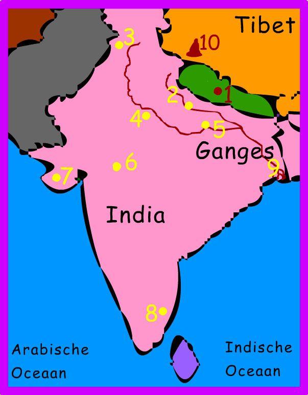 Veel heilige plaatsen zijn verbonden met gebeurtenissen in het leven van goden of godinnen. Sommige zijn beroemd om hun schoonheid of hun genezende kracht. De zeven plaatsen Ayodhya (2), Hardwar (3), Mathura (4), Varanasi (5), Ujjain (6), Dwarka (7) en Kanchipuram (8) zijn steden van waaruit een hindoe kan oversteken naar de moksha. De berg Kailash (10) is voor hindoes de pijler van de wereld waar het heelal omheen beweegt. De berg ligt in Tibet en is een heiligdom voor de god Shiva.