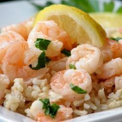 Lemony Shrimp over Brown Rice Allrecipes.com: Brown Rice, Fun Recipes, Black Beans, Lemon Shrimp, Food, White Wine, Lemony Shrimp, Shrimp Rice, Bags