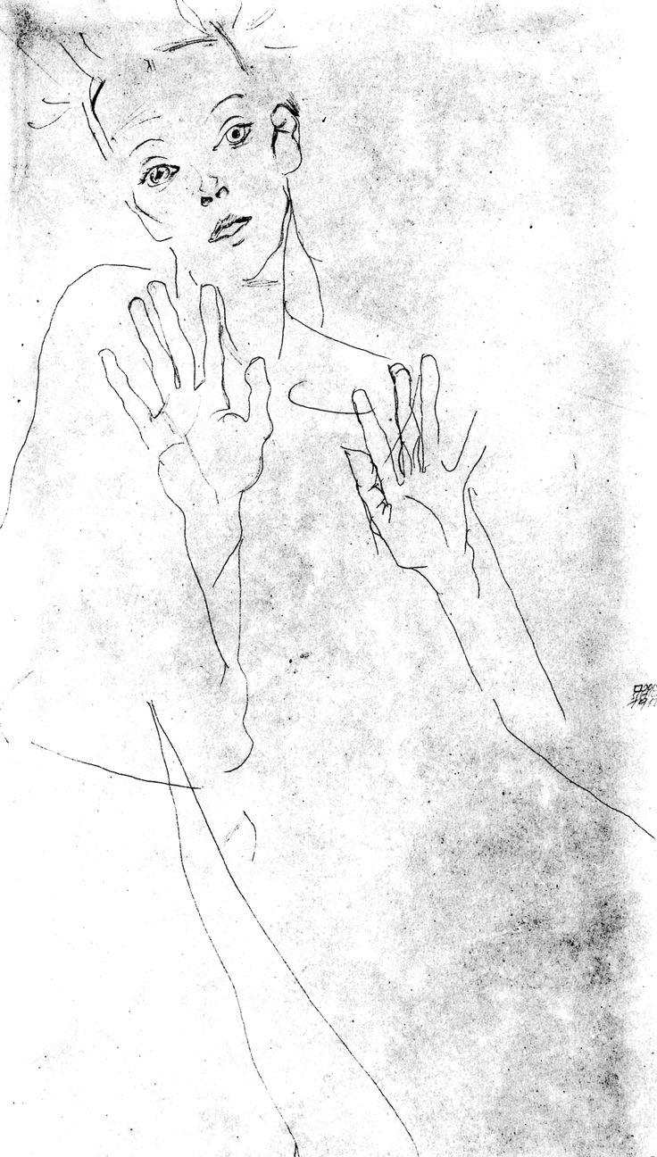 1352936285-1912-egon-schieler-autoportraiti-dessin-au-crayon.jpg (1782×3138)