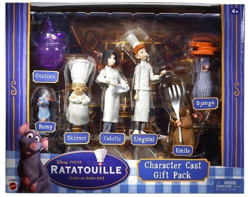 "Ratatouille Character Cast Gift Pack by Mattel. $14.70. This set is from Disney Pixar movie Ratatouille. The set features 7 figures from Ratatouille: Gusteau, Remi, Skinner, Colette, Linguini, Emile and Django.. All figures are well detailed and about 2""- 4""inches tall.. Disney Ratatouille Character Gift Set - Set of 7. These figures will be fun to play with and can also make the perfect gift idea for Christmas.. The set features 7 figures from Ratatouille: Gusteau, Remi, Skinn..."