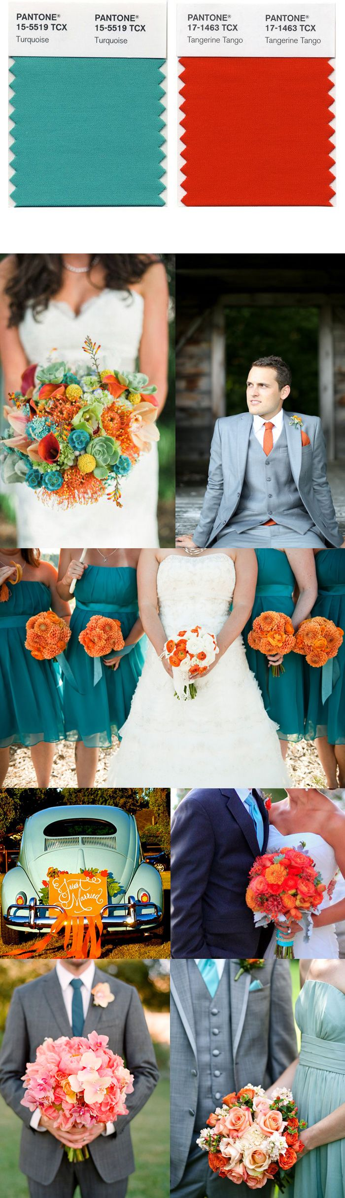 Get inspired with this inspiration board for a Tangerine and Turquoise Wedding.