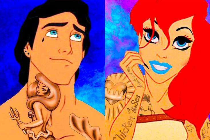 Герои Уолта Диснея и тату https://mensby.com/video/entertainment/6854-if-disney-had-tattoos  Взгляни на старые мультфильмы с новой стороны взрослой жизни. Как выглядели принцессы и принцы из мультфильмов Уолта Диснея, если бы имели тату и пирсинг?