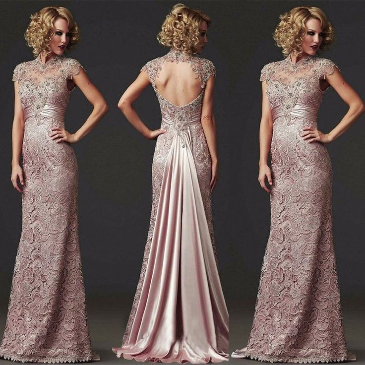 Long Lace Evening Cocktail Formal Party Ball Bridesmaid Wedding Prom Gown Dress #Handmade #BallGown