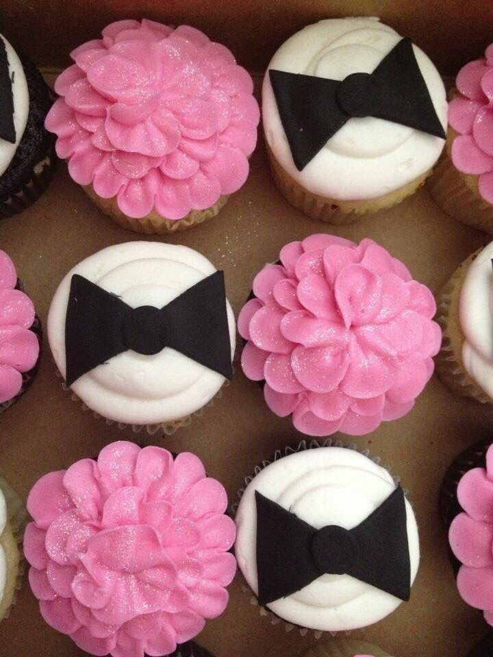 Tutu or bow tie gender reveal cupcakes I made!