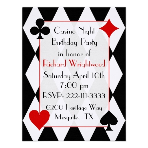 casino night custom birthday invitation