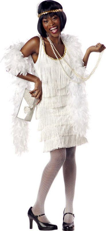 Plus Size White Fringed Flapper Costume