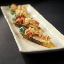 Roasted Maine Lobster on a Garlic and White Bean Bruschetta - Lobster Recipe