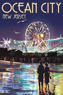 Ocean City, New Jersey - Pier & Rides at Night - Lantern Press Poster