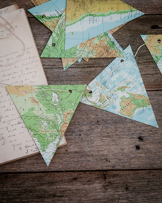 WORLD MAP paper bunting vintage atlas map
