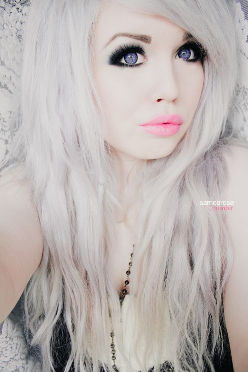 Silver Hair Love And Dolly Eyes ♡ Makeup Silver Hair