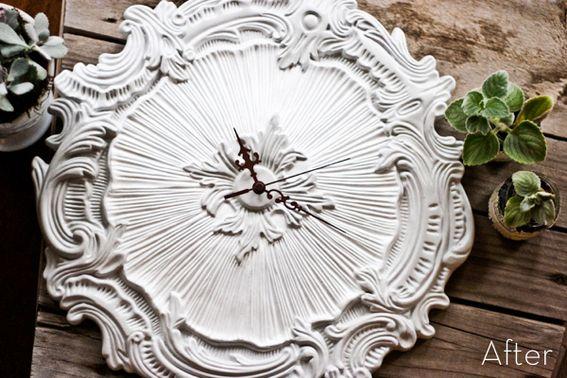 DIY Decorative Ceiling Medallion to Unique Wall Clock (living room)
