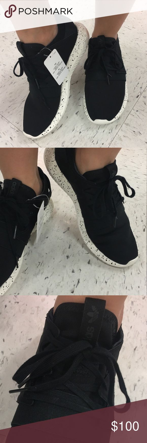 adidas Originals Women's Tubular Viral W Running S Brand New with tags adidas all black and white sole with black details tennis shoes. They are super comfortable to use for everyday wear with ankle pants. Or hit the gym with these beauties. adidas Shoes Sneakers