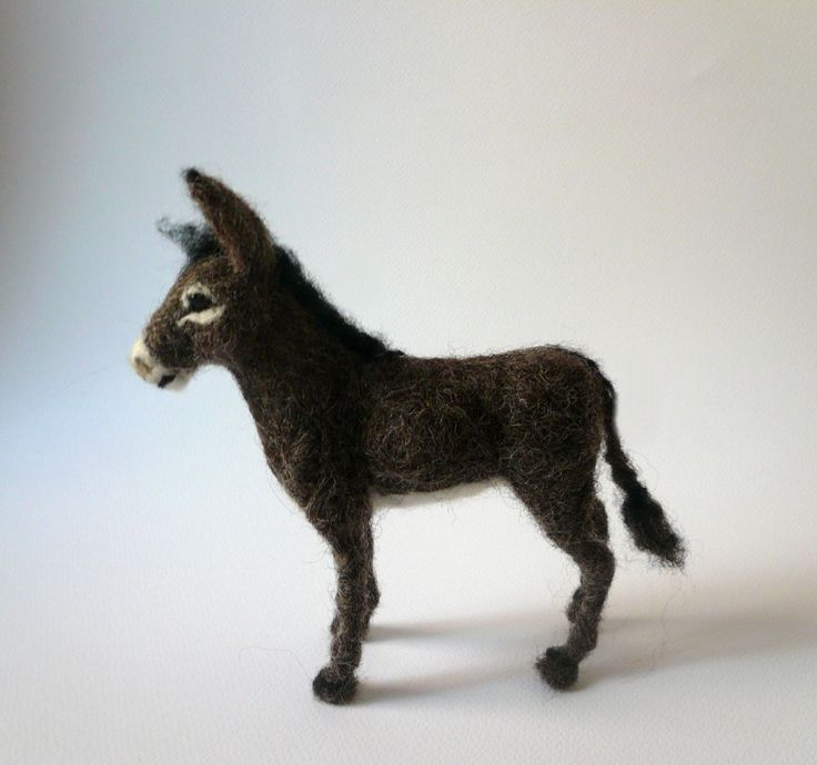 Needlefelted little donkey https://www.facebook.com/pages/Elinas-Felting-Art/141019159288321