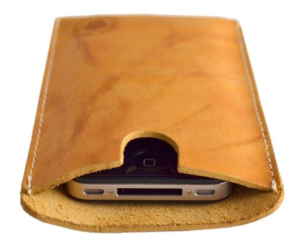 Caramel Cream Leather iPhone Sleeve