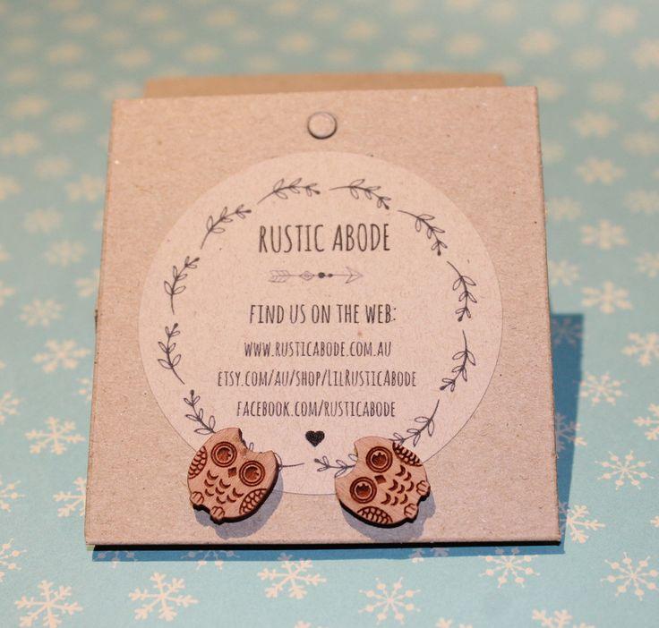Handmade Wooden Laser Cut Stud Earrings ~ Owl