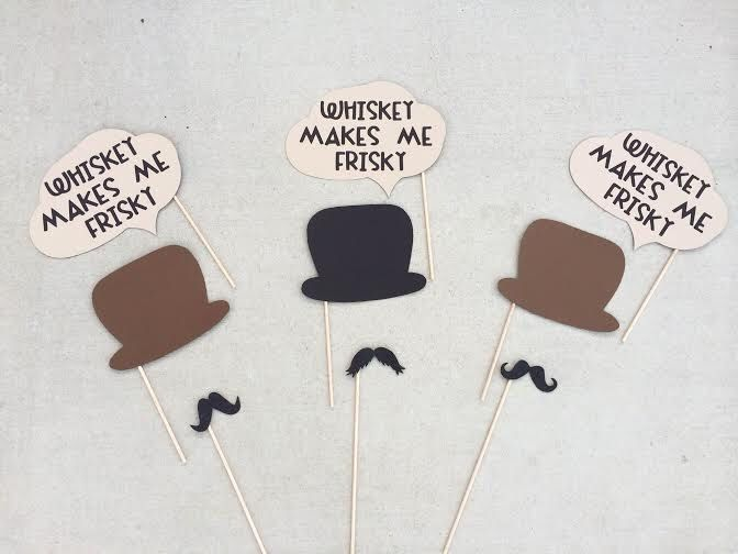 Gentleman's Photo Booth Prop Set; Jack Daniels Themed Photo Booth Props; Whiskey Makes me Frisky Word Bubbles; Mustache Photo Props by LetsGetDecorative on Etsy https://www.etsy.com/listing/203619978/gentlemans-photo-booth-prop-set-jack