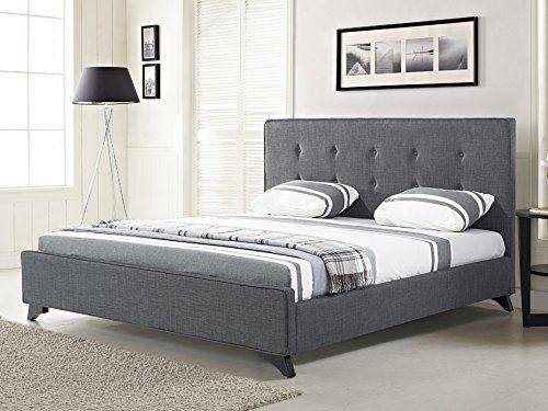 nice Upholstered Bed - Fabric - 6 ft - King Size- incl. stable slatted frame - Grey - AMBASSADOR