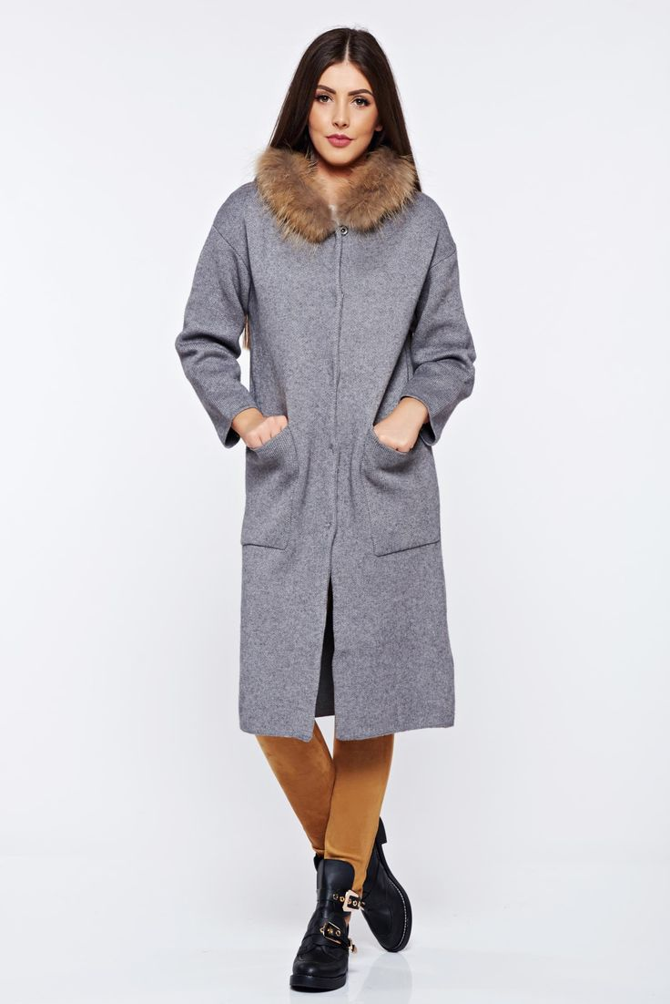 Knitted from thick fabric grey cardigan with faux fur details with pockets, women`s sweater, faux fur details, undetachable hood, with pockets, thick fabric, knitted fabric