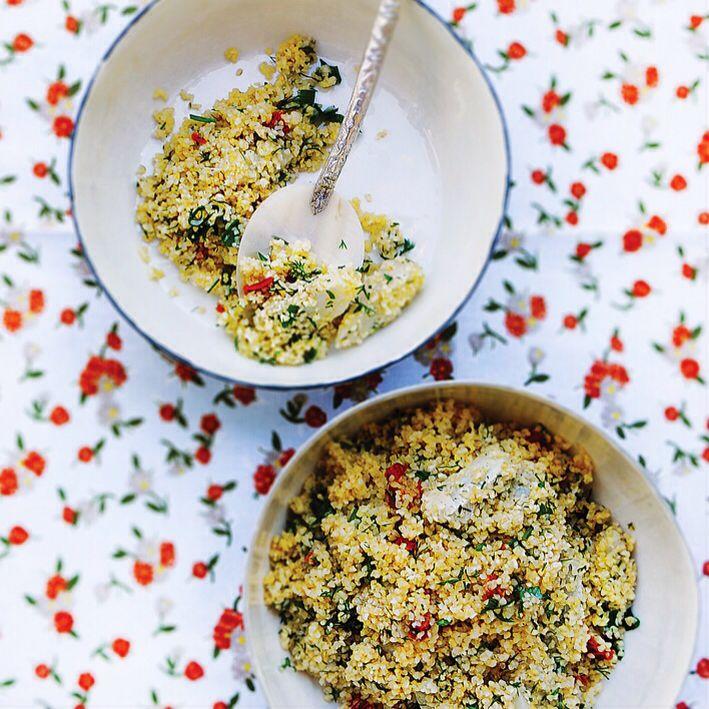 Artichokes with bulghur salad