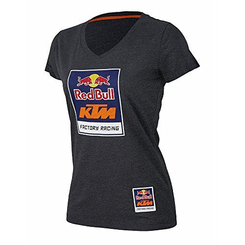 Red Bull KTM Factory Racing Women's Logo V-Neck Tee  Fitted, short sleeve v-neck available in charcoal grey or navy blue  Large Red Bull KTM Factory Racing screen printed logo on the front  Small, branded Red Bull KTM Factory Racing logo patch above the front left hem