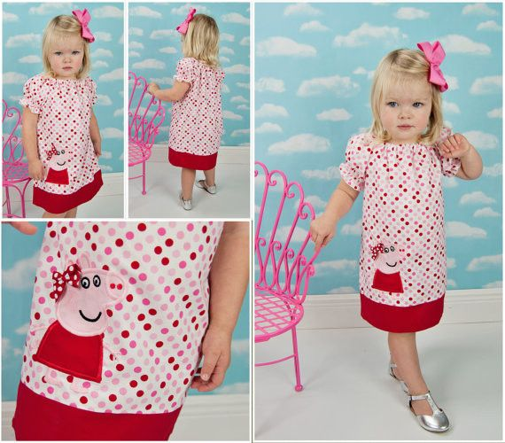 Our cute Peppa Pig Dress peasant dress has puff sleeve and a contrasting hem border. Peppa is appliqued onto dress. Name can be added to hem border if you like for an additional change. Outfits are ma