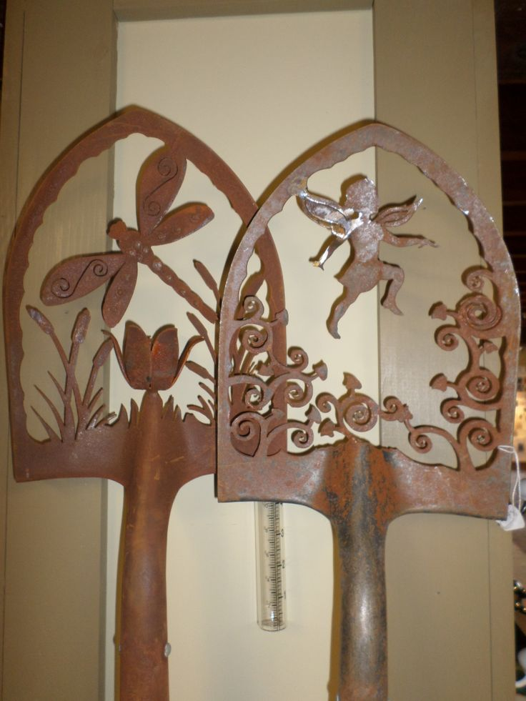 Beautiful intricately carved garden shovels w/rain gauge ...