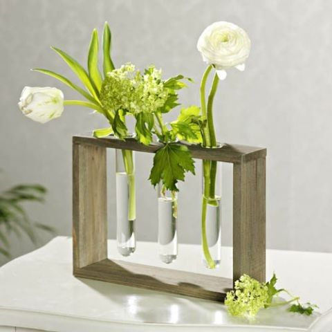 Modern Vase for flowers!!!    This vase for flowers, with 3 glass tubes is the excellent gift for someone, or for YOURSELF!  Materials: wood and