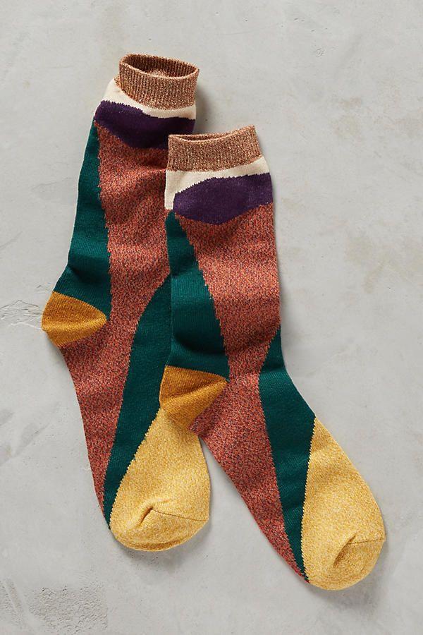Slide View: 1: Colorblocked Crew Socks