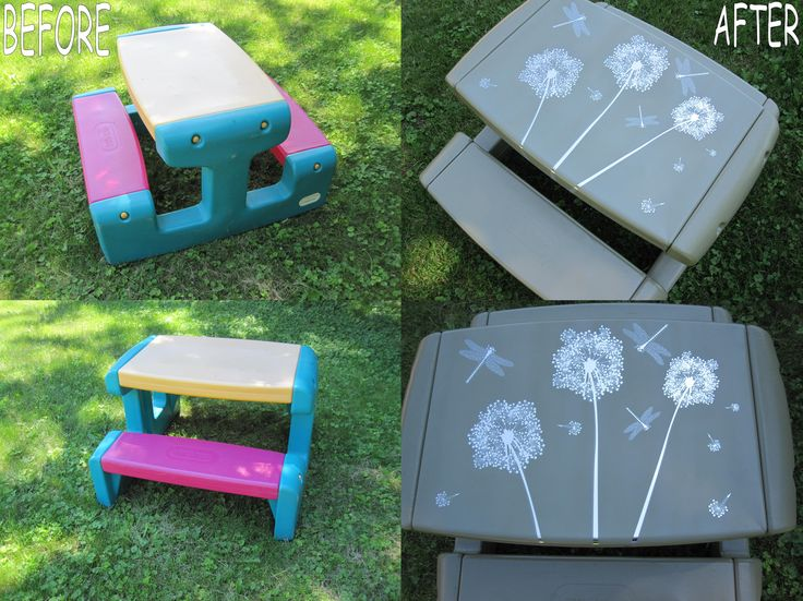 Little Tikes Picnic Table Re Do (Oregano Spray Paint + Dragonfly U0026  Dandelion Decal
