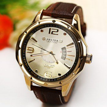 $27.14 Julius Quartz Watch with Numbers Strips Dots Indicate Leather Watch Band for Men