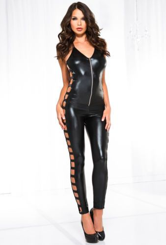 Women Jumpsuit Bodysuit Clubwear Sleeveless Pvc Catsuit Pole Dancing Wear M-2Xl