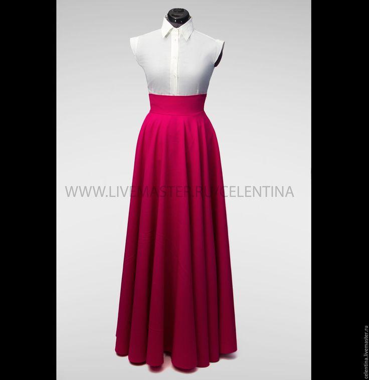 Купить Юбка в пол, длинная юбка, Бордовая юбка, юбка макси, юбка солнце - юбка