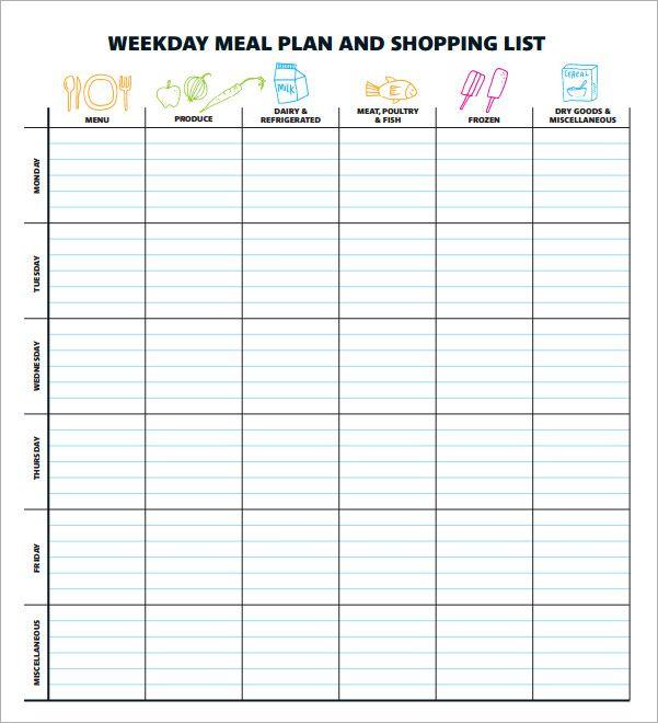weekly menu template pdf