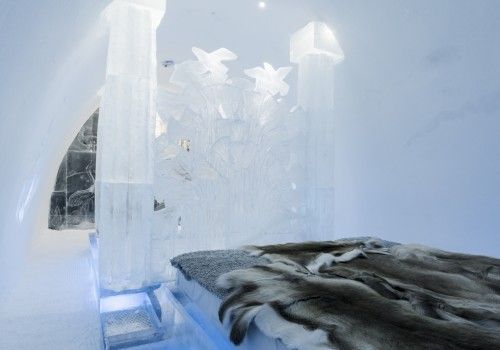 Icehotel in northern Sweden, this amazing place has rooms and suites made entirely of ice and snow!