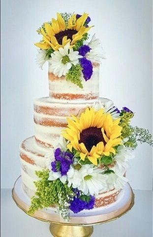 Sunflower Naked Wedding Cake