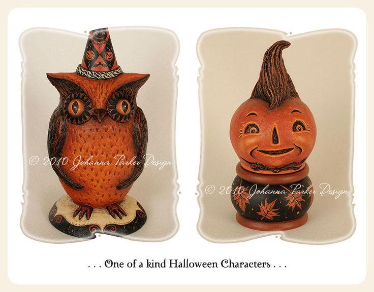 One of a kind Halloween owl and jack-o'-lantern by folk artist, Johanna Parker