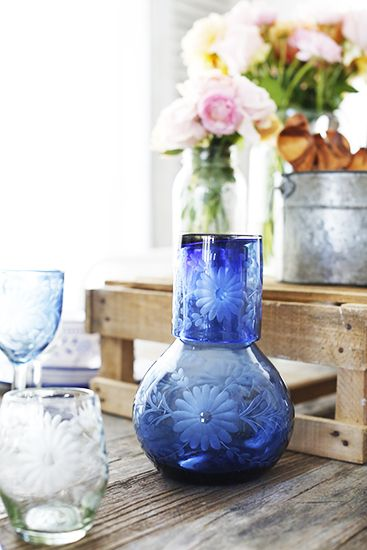 Behind the Scenes: Lauren Conrad's Etched Glassware // @lilmarket blue carafe and glass