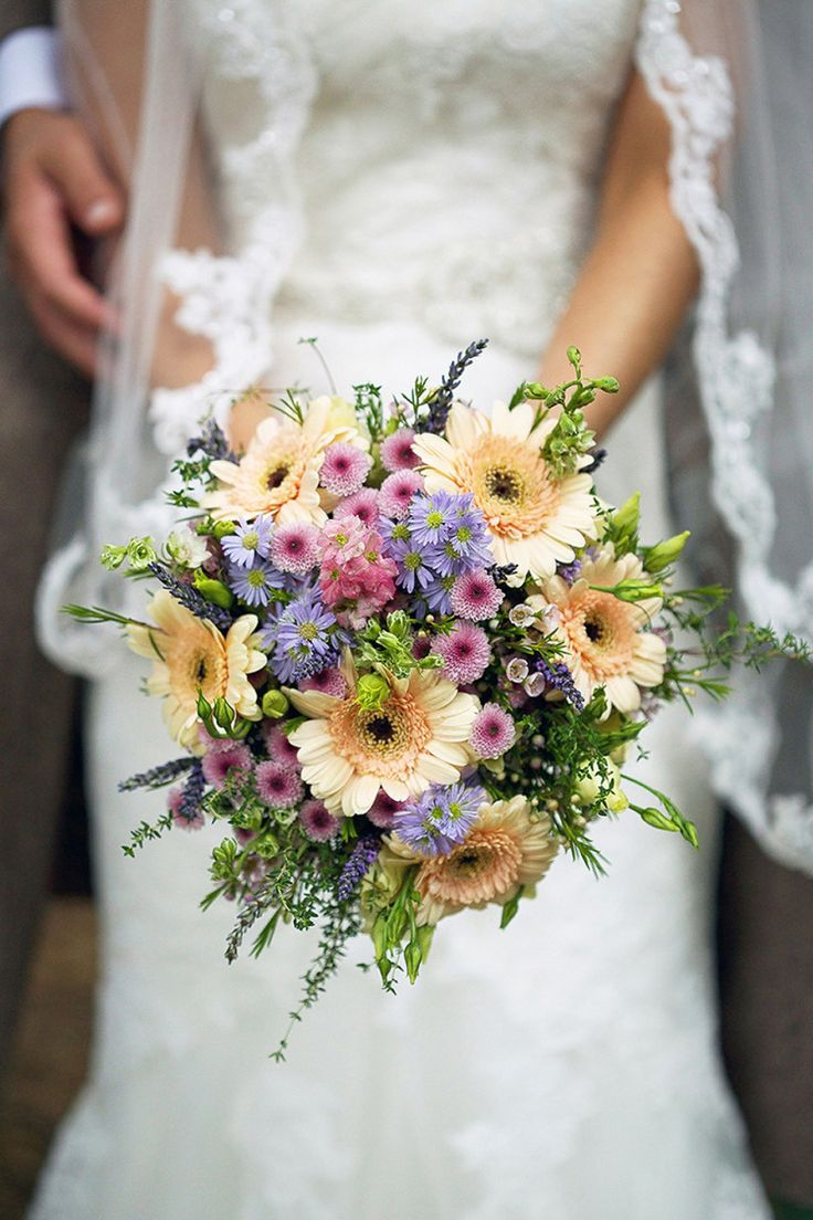 'Wild Flower' styled bouquet using pastel coloured flowers | Photography by http://www.kimberleybrand.com/