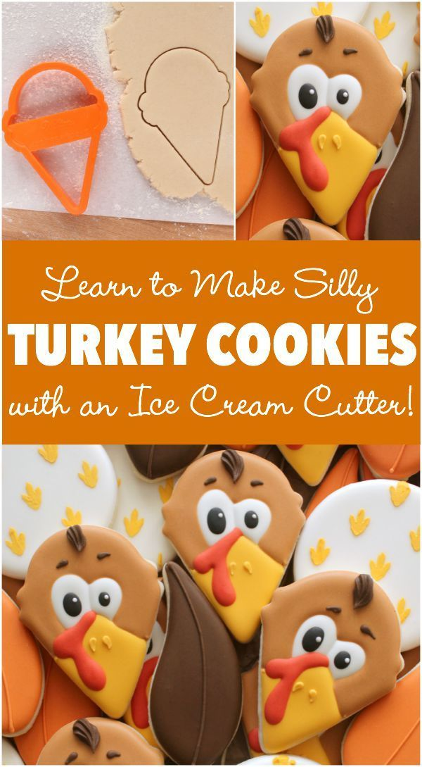 How to make cute Thanksgiving Turkey cookies with a simple ice cream cone cutter!